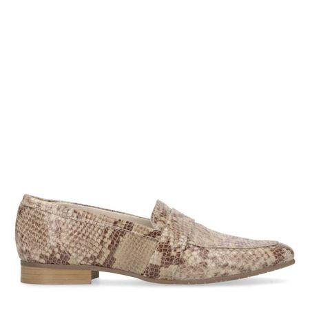 Beige loafers met snakeskin