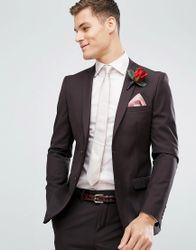 French Connection Skinny Wedding Suit Jacket In Dark Burgundy - Burgundy