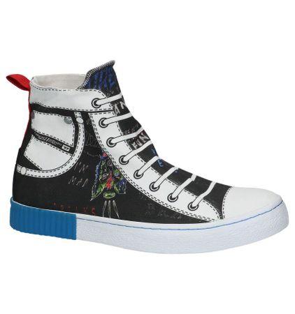 Hoge Geklede Sneakers Zwart Diesel met Tekening
