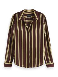 Maison Scotch Regular drapey fit shirt in colour combo s bruin