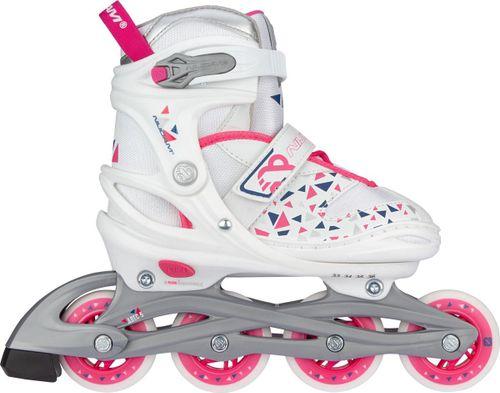 Nijdam Inline Skates Verstelbaar - White Wedge - Wit/Zilvergrijs/Fuchsia/Marine - 29-32