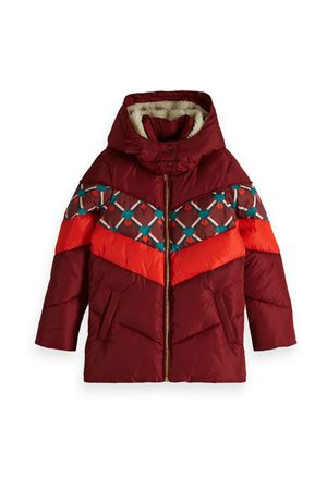 Padded Jacket With Colour Block And Detachable Hood Plum