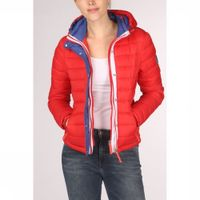 Superdry Jas Fuji Slim Double Ziphood voor dames - Rood