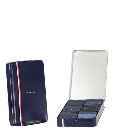 Tommy Hilfiger Sokken Men Sock 5P Tin Giftbox Stripe And Dot Blauw