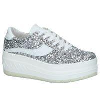 Zilveren Sneakers Sixtyseven met Dikke zolen en Glitters