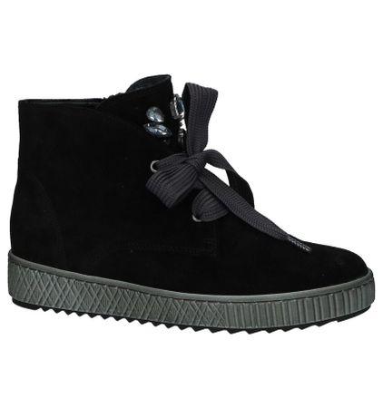 Zwarte Boots Rits/Veter Gabor Best Fitting met Steentjes